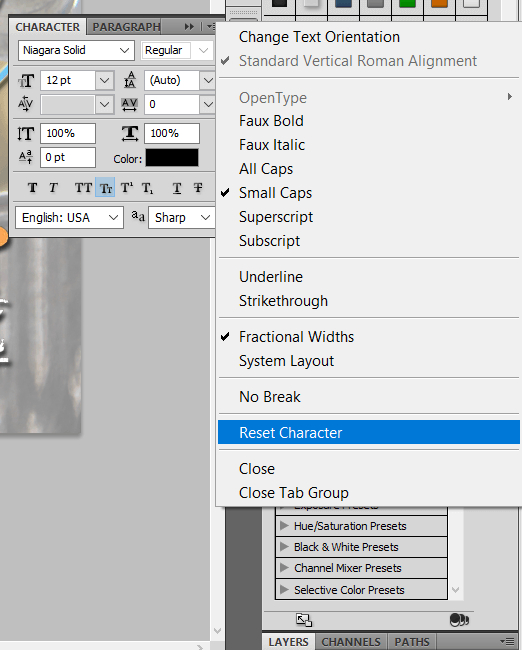 photoshop reset character