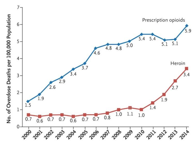 Tassi di mortalità per eroina ed analgesici oppioidi.