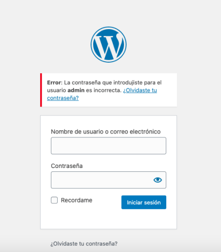Captura login wordpress