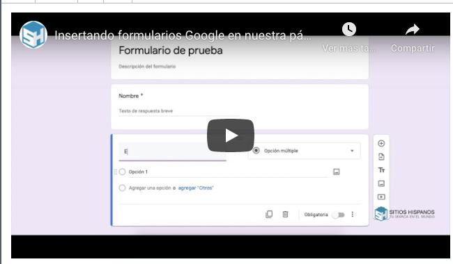 Insertando formularios Google en nuestra página web