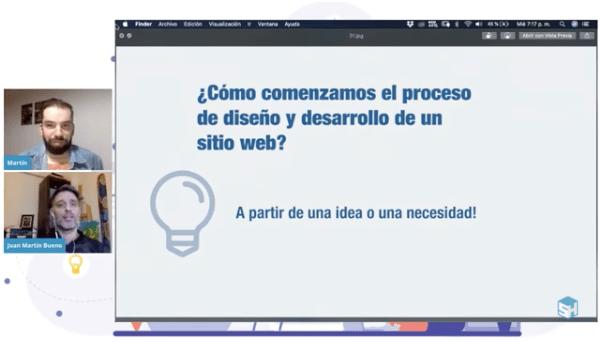 Captura charla Diseñando un sitio web exitoso. Martín Di Luzio - Juan Martín Bueno