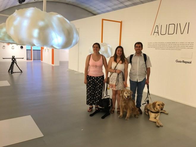 3 personas ciegas junto a sus perros guía, se ven nubes a los lados y el cartel de Guía Repsol