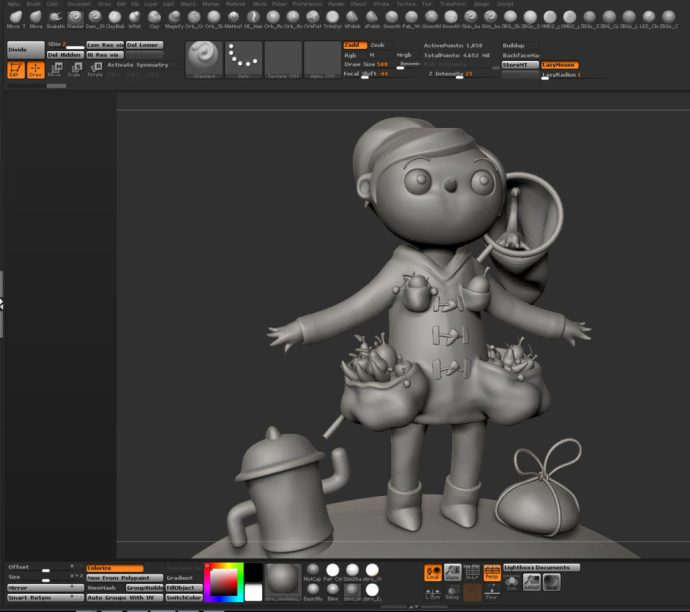 Basic sculpt, before the detailing phase.