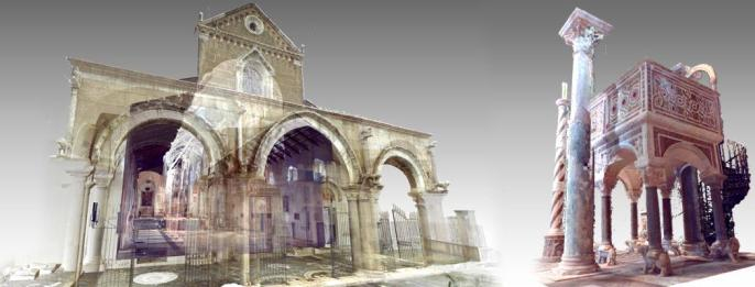 Point clouds of laser scanner 3D survey operations: The Cathedral (left) and the Byzantine Ambo (right)