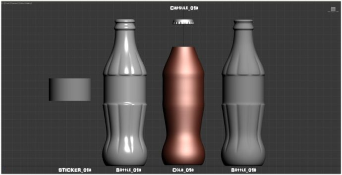 """Layers of mesh used for rendering : """"Sticker_01a"""" for the Coca-Cola label """"Bottle_01a"""" for the outer-layer of the bottle --- """"Bottle_01b"""" for the inner-layer of the bottle """"Cola_01a"""" for the Coca-Cola liquid --- """"Capsule_01a""""... for the capsule!"""