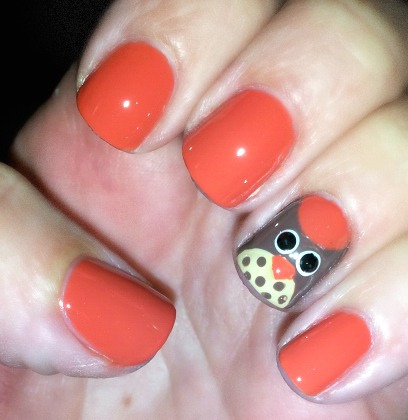 owl nail art peach