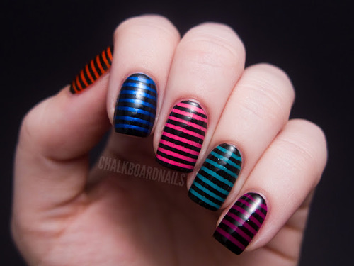 colorful strip nail art