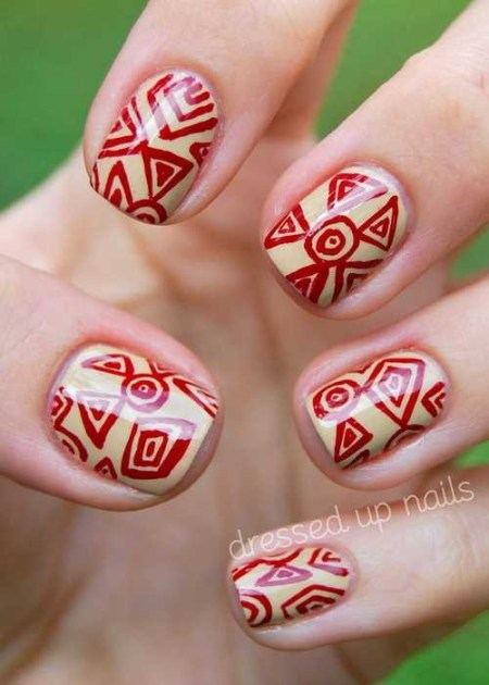 tribal nails yellow red