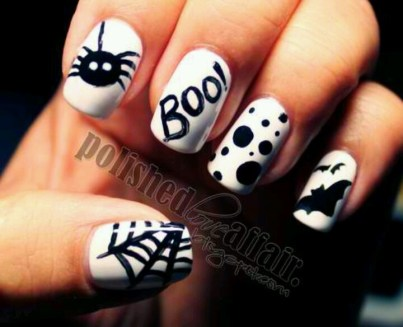 halloween nail art black white