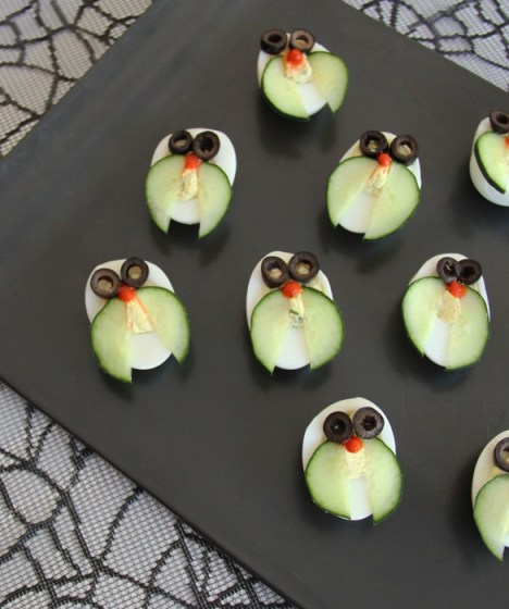 owl deviled eggs cucumber oilve