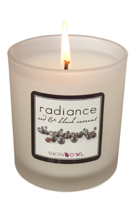 red and black currant radiance candle skinowl holiday gift