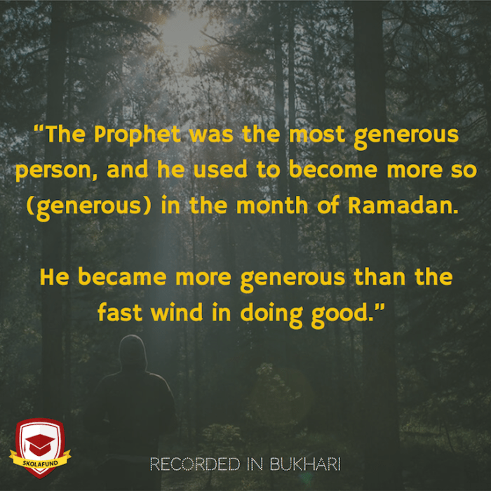 The Prophet was most generous in Ramadhan.