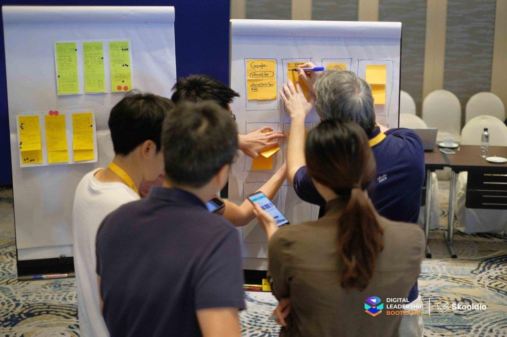 บรรยากาศ Design Sprint ของ Digital Leadership Bootcamp (DLB)   Skooldio Blog - เก็บ Data ยัน Design Sprint: ปรับธุรกิจ ด้วยวิธีคิดแบบ Startup