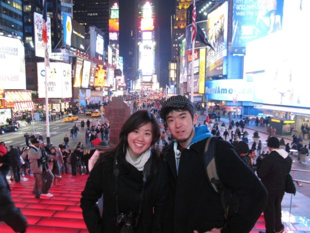 At Times Square, January 15th, 2010 with faithful travel companion @serenastyle