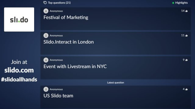 Questions feature in Slido