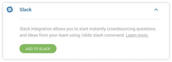 Slack integration in Slido