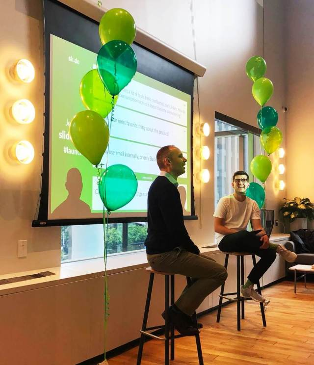 Jim Ray, Slack's Enterprise Developer Advocate talking about team communication at the recent Slido + Slack Launch Party.