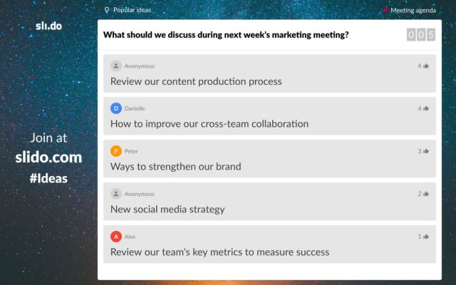 Crowdsource your meeting agenda with Slido Ideas