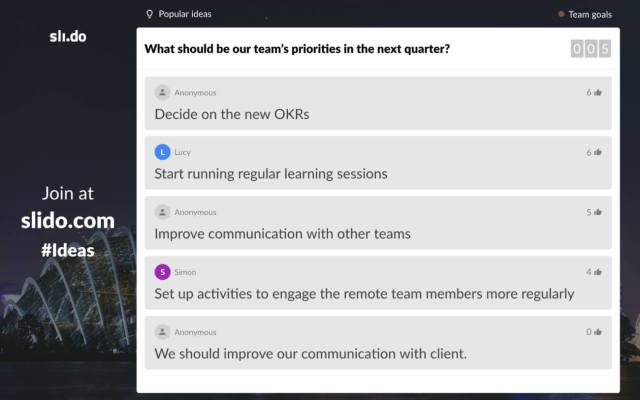 What should be our team priorities in the next quarter?