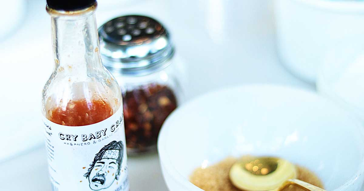 Bottle of cry baby hotsauce