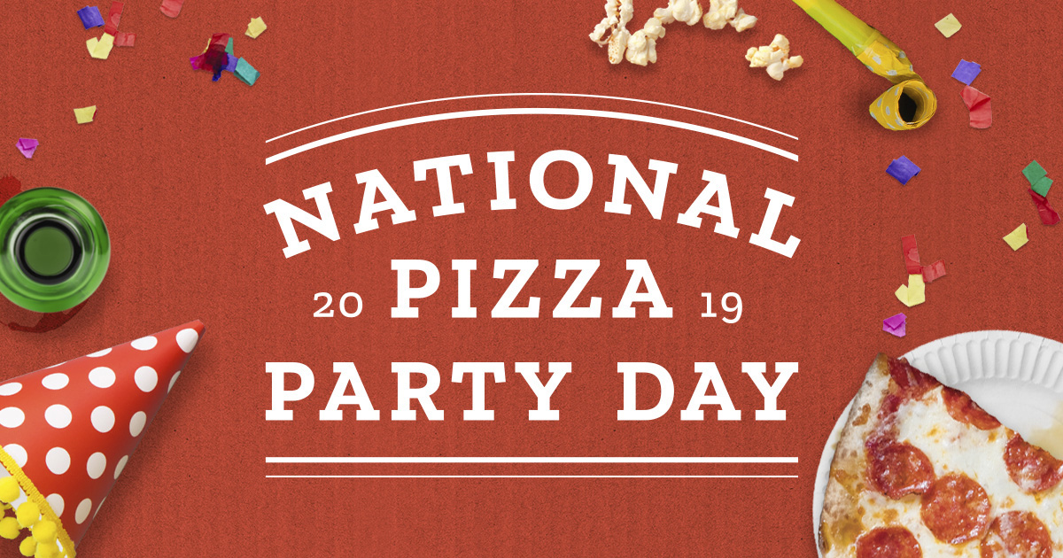 "Banner that reads, ""national pizza party day 2019"""