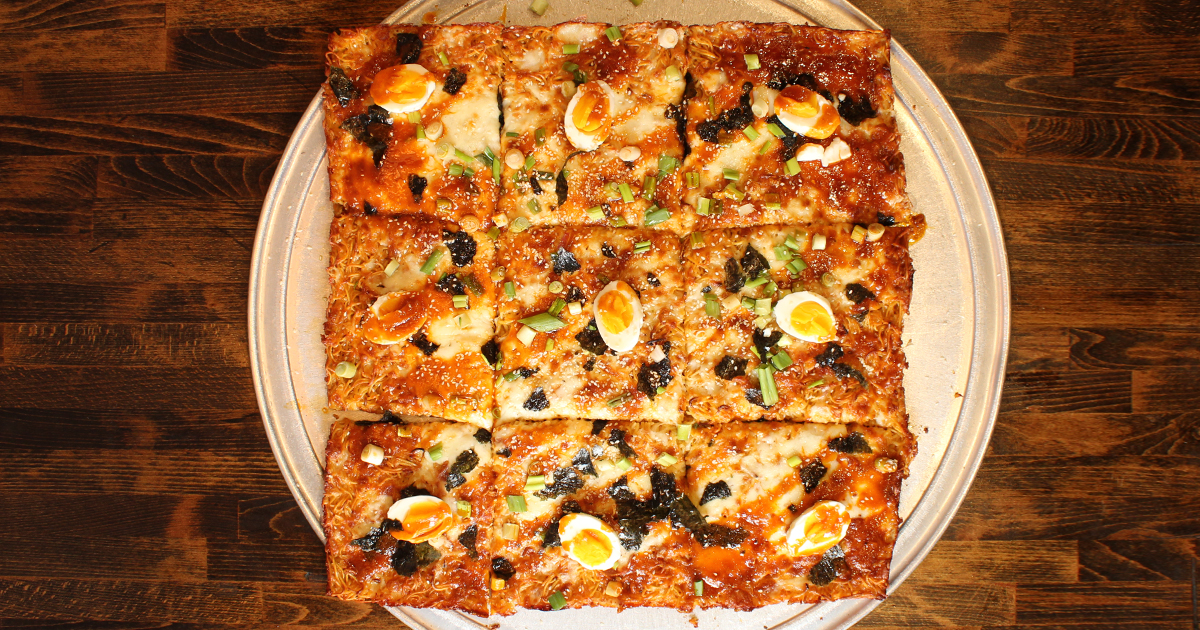 Overhead pic of The Devour Ramen Pizza by Tony Boloney's