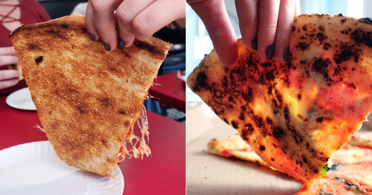 Comparison of crust between New York-style and Neapolitan pizza