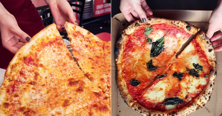 Comparison of size for New York-style and Neapolitan pizza pies