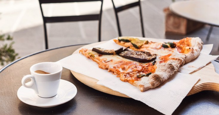 Brunch Pizza with Coffee