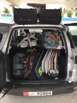 Car loaded up with Slingshot test kiteboards.