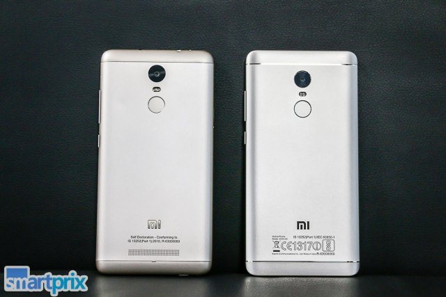 Xiaomi Redmi Note 3 vs Xiaomi Redmi Note 4 Design