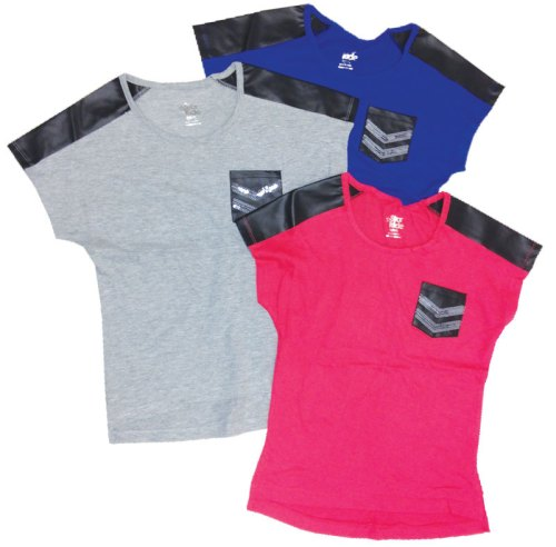 Girls' Cap Sleeve Tee with pleather and sequin chevrons