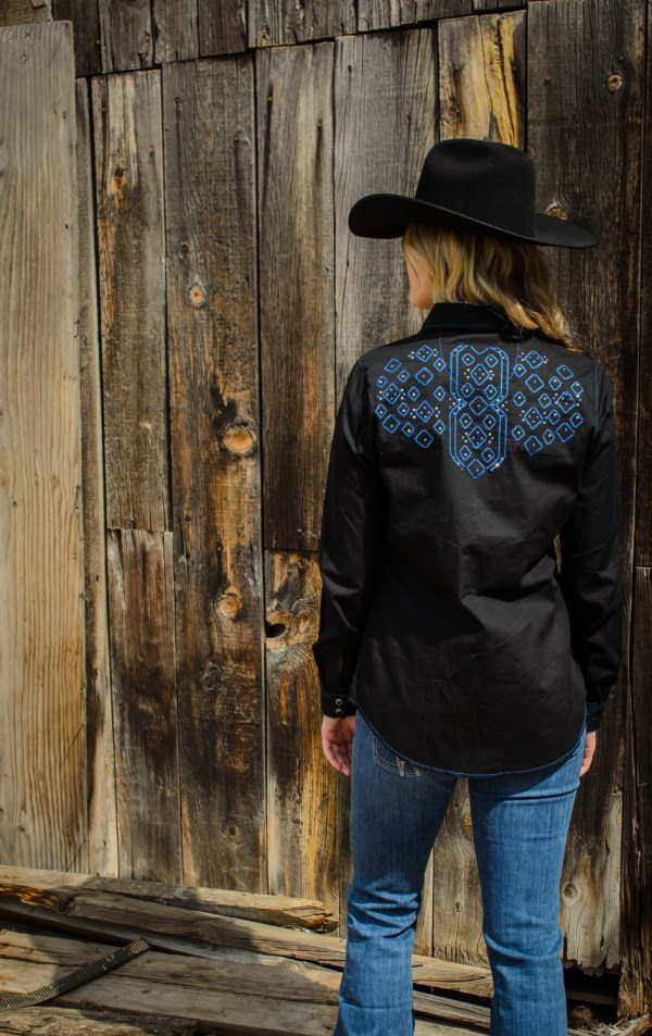 Gorgeous cobalt stitching and cobalt & silver sparkles make this shirt stand out.