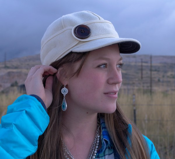 Turquoise earrings and Stormy Kromer hat for fall