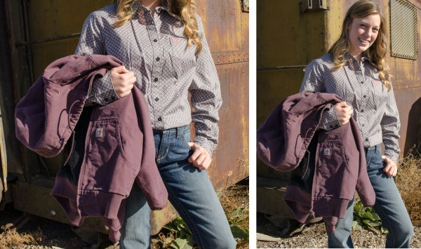 Jerica wearing ladies' Cinch jeans and shirt