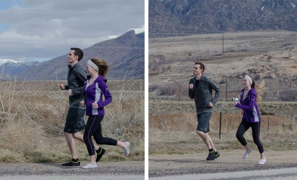 Jerica and Brent jogging near Smith & Edwards