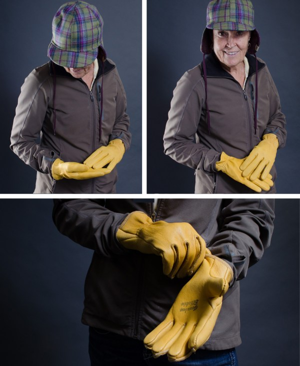 Jean modeling our Yellowstone elkskin and deerskin gloves.