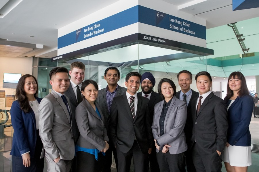 Anshuman Chaturvedi with fellow MBA students