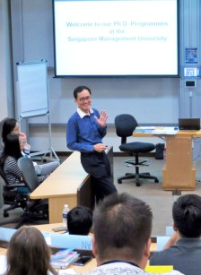 Professor Pang speaking to the new batch of PhD students at the welcome orientation
