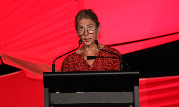 Lionel Shriver delivering her keynote address