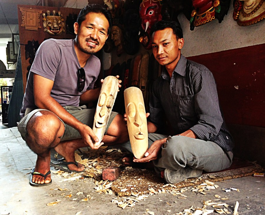 Mask carver with my co-founder Anil Gurung