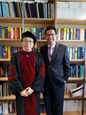 Jiang Liang with Professor Jun Yu after his graduation