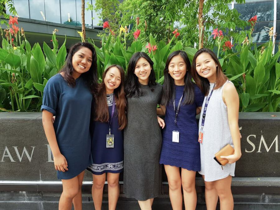 Lydia Tan with SMU schoolmates