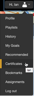 Go to Certificates under your profile.