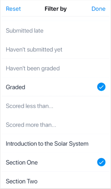 picture of the teacher apps screen concerning the Submission Section FIlter