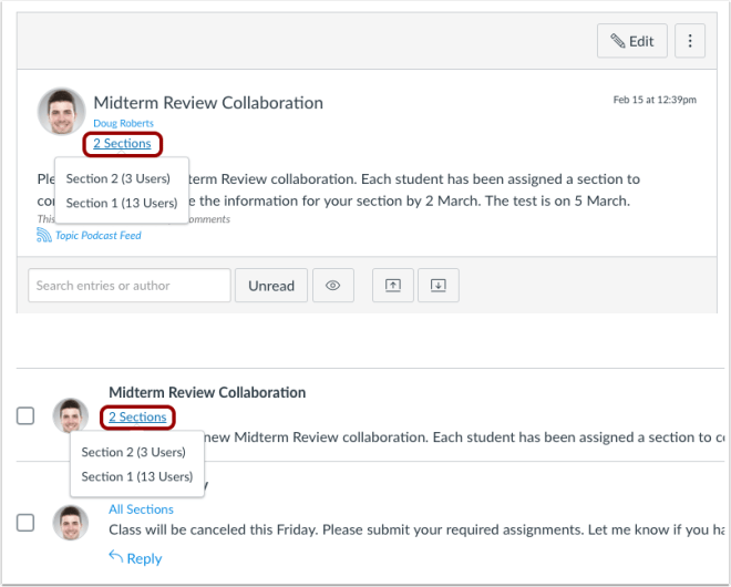 picture showing the updates to the student view of announcements in Canvas