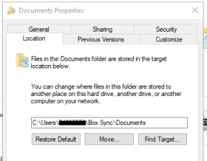 Documents Properties window with the Location tab selected.