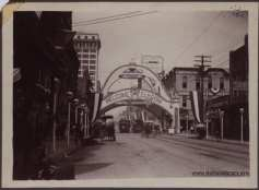 "Elks Arch inscribed with ""Welcome Elkdom,"" ca. 1908"