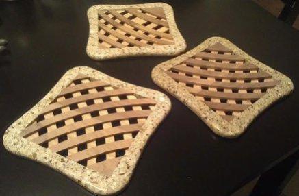 Walnut & Oak Trivets with Solid Surface Frame