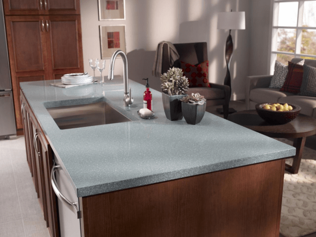 Corian® Aqualite kitchen countertop in a satin finish